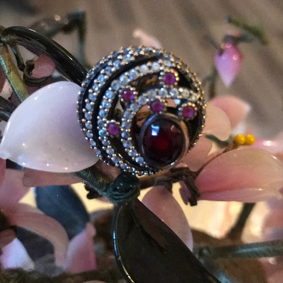 Vintage Jewelry - Vintage 925 ruby & topaz ring
